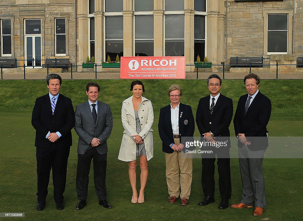 Ricoh Women's Open Officials (L-R) Bart Somsen Brand Strategy Manager Ricoh Europe, Robbie Clyde Ryder Cup Project Director,<a gi-track='captionPersonalityLinkClicked' href=/galleries/search?phrase=Melissa+Reid&family=editorial&specificpeople=807482 ng-click='$event.stopPropagation()'>Melissa Reid</a> Ladies European Tour Player,Shona Malcolm CEO of the Ladies Golf Union, Yutaka Kaneko General Manager, Corporate Communication Centre Ricoh Europe and Ross Hallett IMG Tournament Director during the 2013 Ricoh Women's British Open Press Day on the Old Course at St Andrews, Scotland.