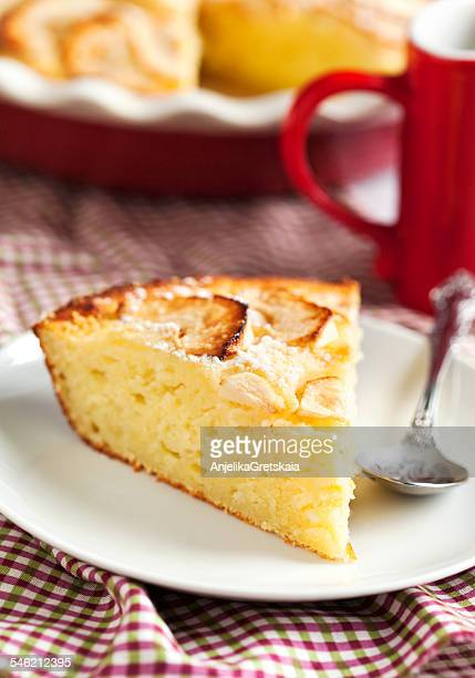 Ricotta pie with apples on plate