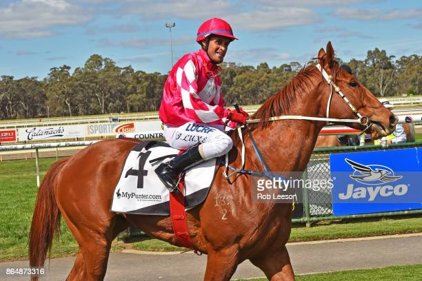 /4/ ridden by /4/ returns to scale after winning the /5/ at Bendigo Racecourse on October 21 2017 in Bendigo Australia