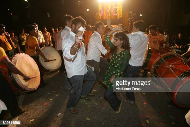 Riddhi dancing with a Ganpati Mandal on its way to Visarjan in Bombay Central for the Just Do It column