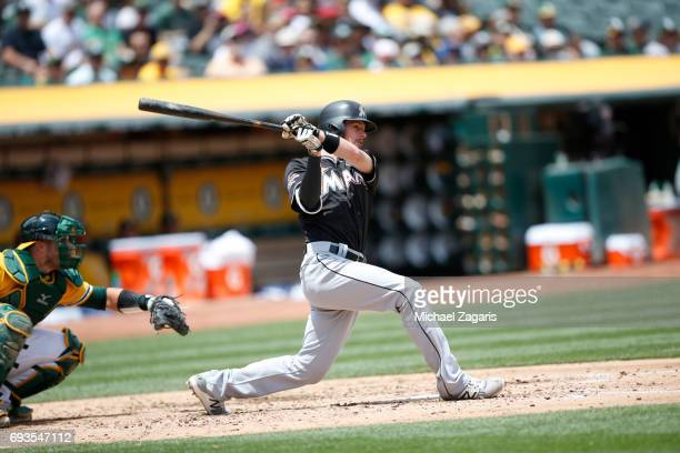 T Riddle of the Miami Marlins bats during the game against the Oakland Athletics at the Oakland Alameda Coliseum on May 24 2017 in Oakland California...