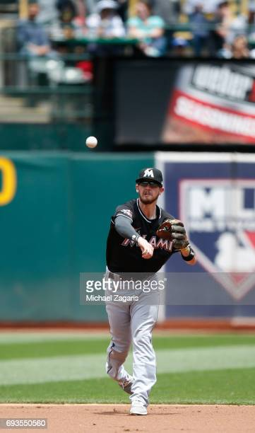 T Riddle of the Miami Marlins fields during the game against the Oakland Athletics at the Oakland Alameda Coliseum on May 24 2017 in Oakland...