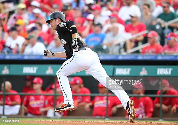 T Riddle of the Miami Marlins in action during the spring training game against the St Louis Cardinals on March 5 2016 in Jupiter Florida