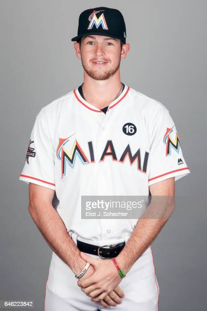 T Riddle of the Miami Marlins poses during Photo Day on Saturday February 18 2017 at Roger Dean Stadium in Jupiter Florida