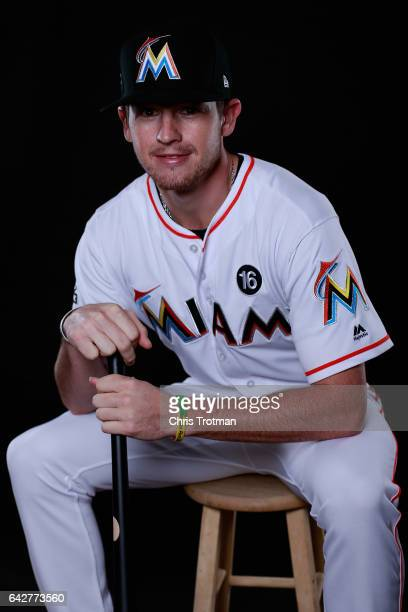 T Riddle of the Miami Marlins poses for a photograph at Spring Training photo day at Roger Dean Stadium on February 18 2017 in Jupiter Florida