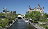 Rideau Canal, boats, Château Laurier and Parliament of Canada