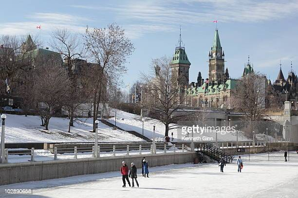 Skaters enjoy and afternoon skate near Parliament in Ottawa.