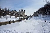 Rideau locks in winter towards Chateau Laurier