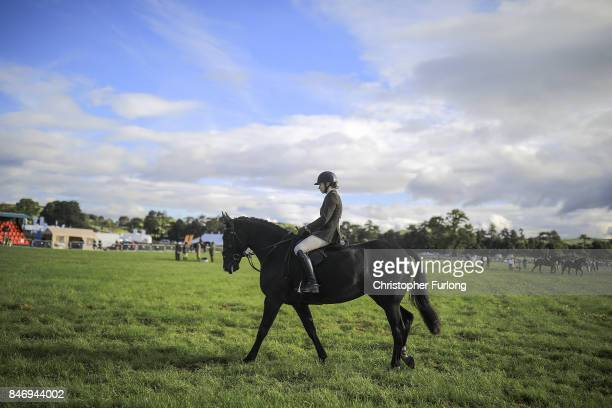 A rider and her horse parade around the show ring during the Westmorland County Show on September 14 2017 in Milnthorpe England The Westmorland...