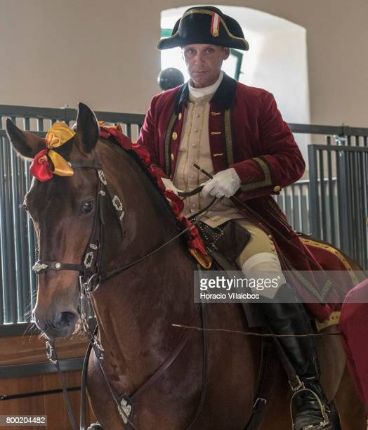 A rider and horse get ready to perform at Portuguese School of Equestrian Art new installations of Pateo de Nora stables on May 17 2017 in Lisbon...