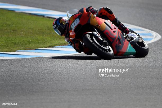 KTM rider Bradley Smith of Britain negotiates a corner during the second practice session of the Australian MotoGP Grand Prix at Phillip Island on...