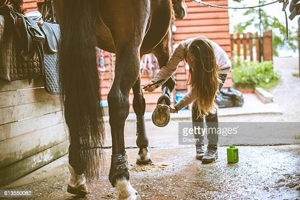 Rider cleaning horseshoes befor the dressage training in stable