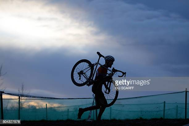 TOPSHOT A rider competes in the Elite Men's Championship of the 2016 British Cycling National CycloCross Championships at Shrewsbury Sports Village...