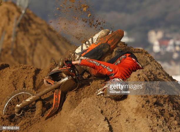 A rider falls during the Adult Solo race during day two of the HydroGarden Weston Beach Race on October 15 2017 in WestonSuperMare England