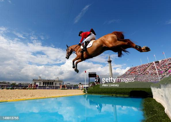 A rider from Canada competes in the 3rd Qualifier of Individual Jumping on Day 10 of the London 2012 Olympic Games at Greenwich Park on August 6 2012...