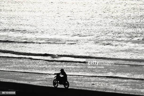A rider heads down the main beach straight during the Adults Solo Race during day two of the HydroGarden Weston Beach Race on October 15 2017 in...