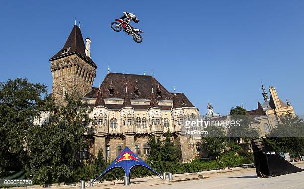 FMX rider in action during the final of the 17th of OSG Offline Sport Games at Városliget on Sept 10 2016 in Budapest Hungary