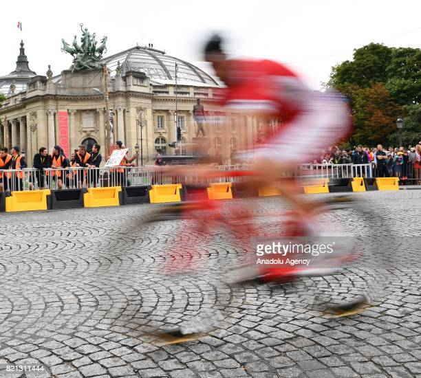 A rider in action during the final stage of the Tour de France 2017 cycling race at the Avenue des ChampsElysees in Paris France on July 23 2017