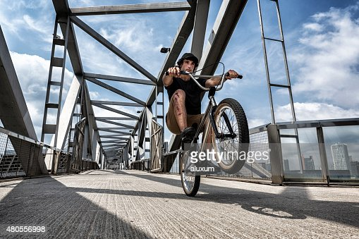 BMX rider in city : Stock Photo
