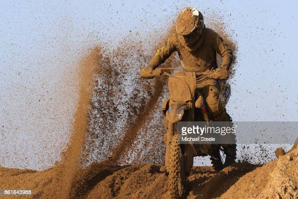 A rider is sprayed by sand during the Adult Solo race during day two of the HydroGarden Weston Beach Race on October 15 2017 in WestonSuperMare...