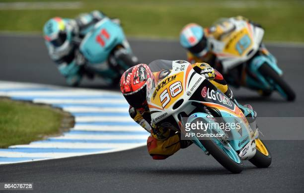 KTM rider Juanfran Guevara of Spain leads RBA BOE Racing team rider Gabriel Rodrigo of Argentina and Honda rider Livio Loi of Belgium during the...