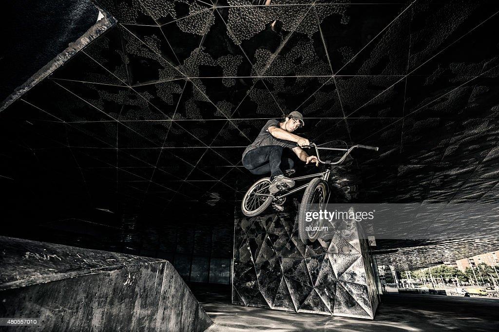 BMX rider jump : Stock Photo