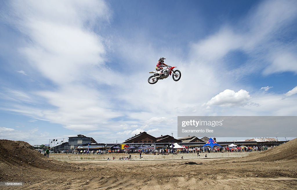 Rider Justin Barcia jumps on a temporary motocross track set up at the downtown rail yards on Thursday, May 16, 2013, in Sacramento, California. The 45th Annual RedBull Hangtown MX Classic Series is in Rancho Cordova Saturday.