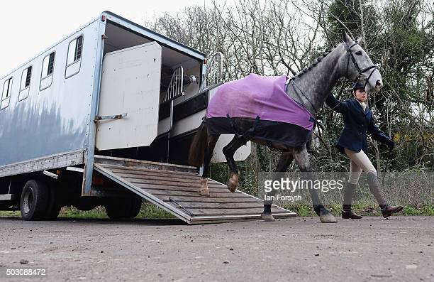 A rider leads her horse from a horsebox as the Cleveland Hunt prepares to ride out on the traditional New Year's Day hunt on January 1 2016 in...