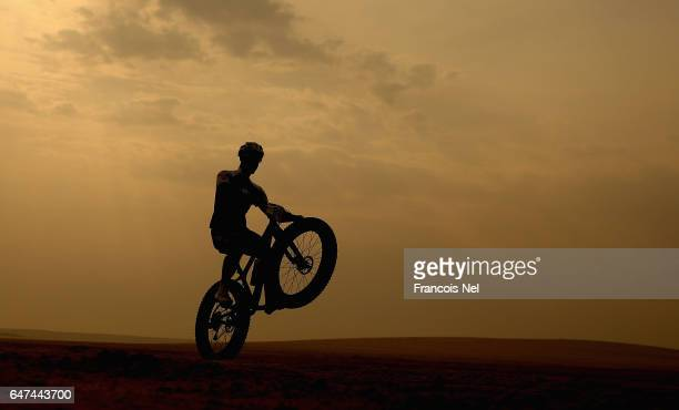 A rider makes his way through the desert during the Al Adaid Desert Challenge on March 3 2017 in Doha Qatar