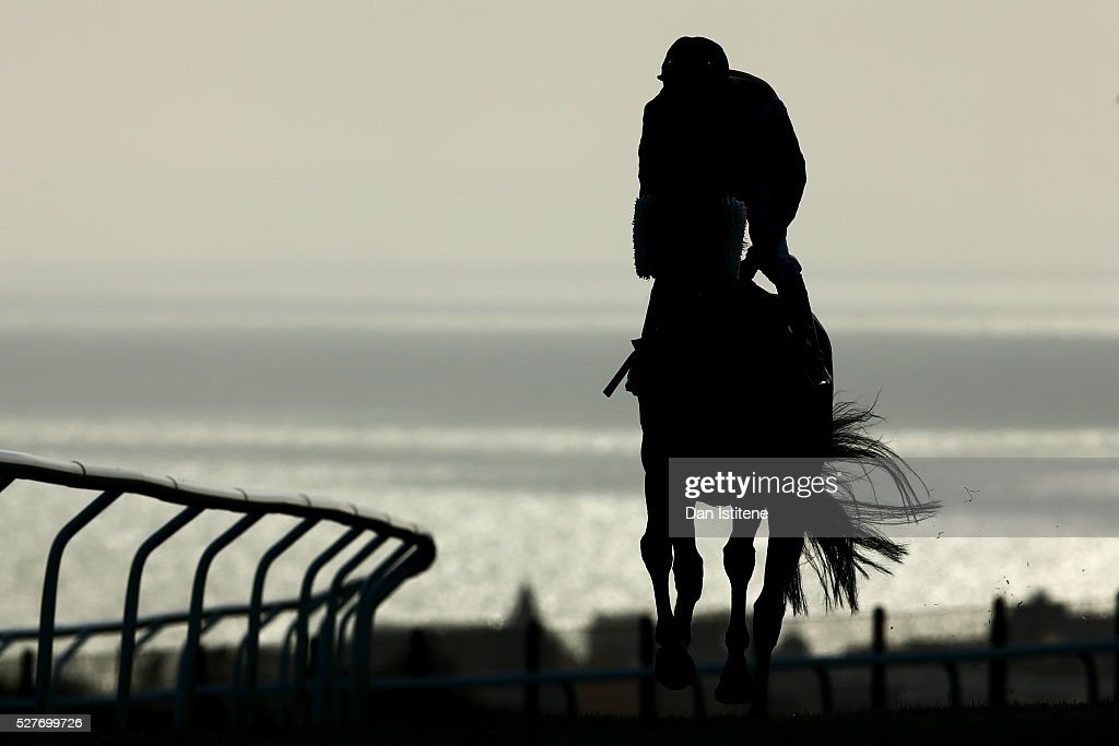 A rider makes his way to the start for the actionchallenge.com London2Brighton16 May Handicap Stakes during the xxxx at Brighton Racecourse on May 3, 2016 in Brighton, England.