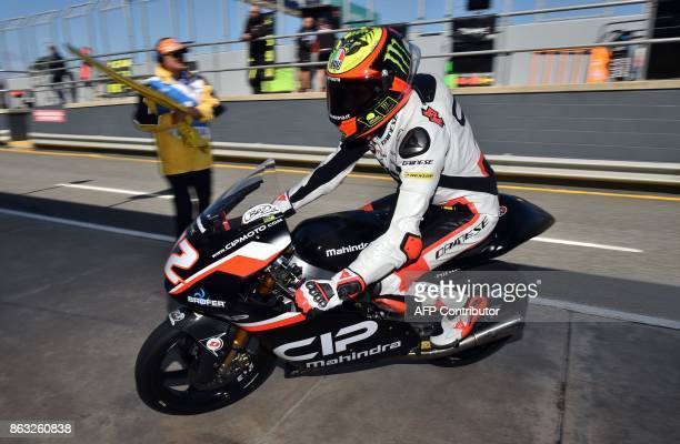 CIP rider Marco Bezzecchi of Italy enters the pit lane during the Moto3class first practice session of the Australian MotoGP Grand Prix at Phillip...