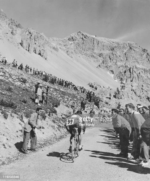 A rider near the snow line in the French Alps during a mountain stage of the Tour de France July 1951 Original publication Picture Post 5381 The...