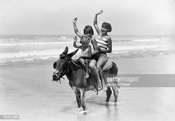 Rider On A Donkey On Deauville Beach In 1929