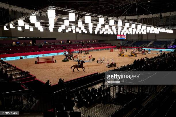 A rider on his horse in action during the Madrid Horse Week 2017 at IFEMA on November 24 2017 in Madrid Spain