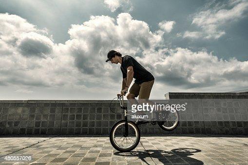 BMX rider performance : Stock Photo