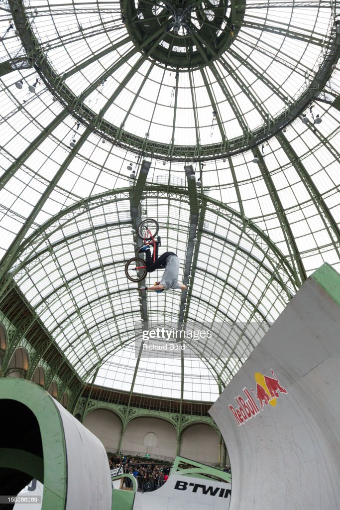 A rider performs during a training session for the RedBull Skylines BMX Contest at Grand Palais on November 2, 2012 in Paris, France.