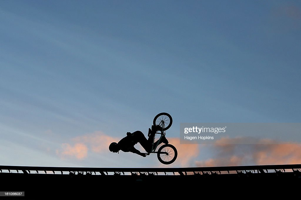 A BMX rider performs during Nitro Circus Live at Westpac Stadium on February 9, 2013 in Wellington, New Zealand.