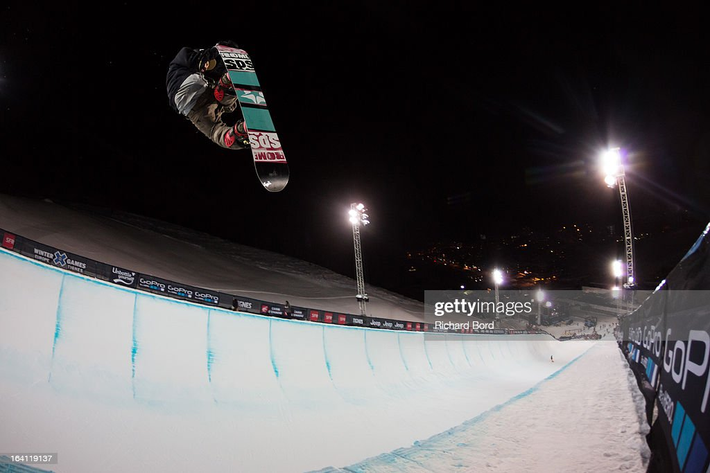 A rider practices during the Superpipe training sessions during day two of Winter X Games Europe 2013 on March 19, 2013 in Tignes, France.