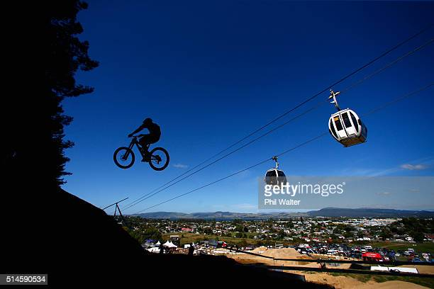 A rider practices the downhill course on Day Two of the Crankworx Mountainbike Festival on March 10 2016 in Rotorua New Zealand