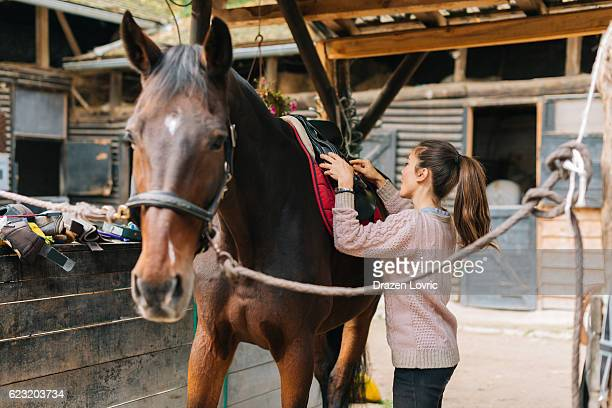 Rider putting saddle on her horse before dressage training