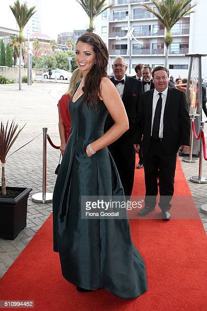 BMX rider Sarah Walker arrives at the 2016 Halberg Awards at Vector Arena on February 18 2016 in Auckland New Zealand