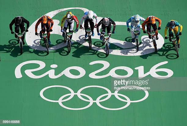 Riders at the start of the race during the Mens BMX Semi Finals on day 14 of the Rio 2016 Olympic Games at the Olympic BMX Centre on August 19 2016...