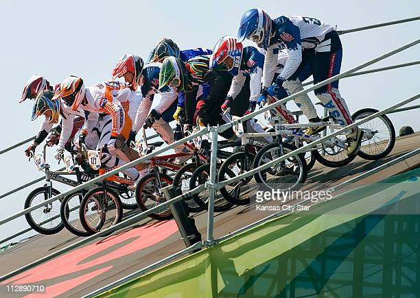 Riders begin a semifinal run on the BMX cycling course on Friday August 22 in the Games of the XXIX Olympiad in Beijing China