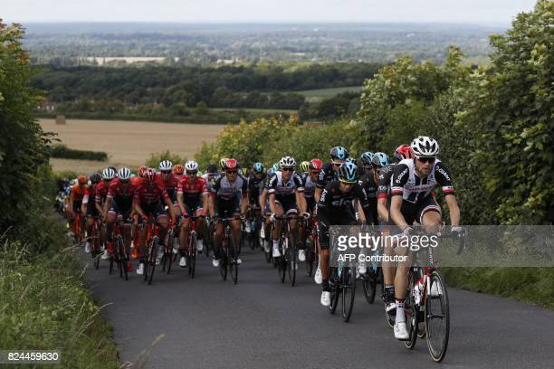 Riders climb up Staple Lane during the 'Prudential RideLondonSurrey Classic 2017' UCI World Tour cycle race in London on July 30 2017 / AFP PHOTO /...
