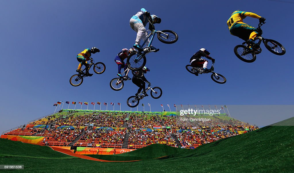 Riders compete in the Cycling BMX Men's Quarterfinals on Day 13 of the 2016 Rio Olympic Games at Olympic BMX Centre on August 18 2016 in Rio de...