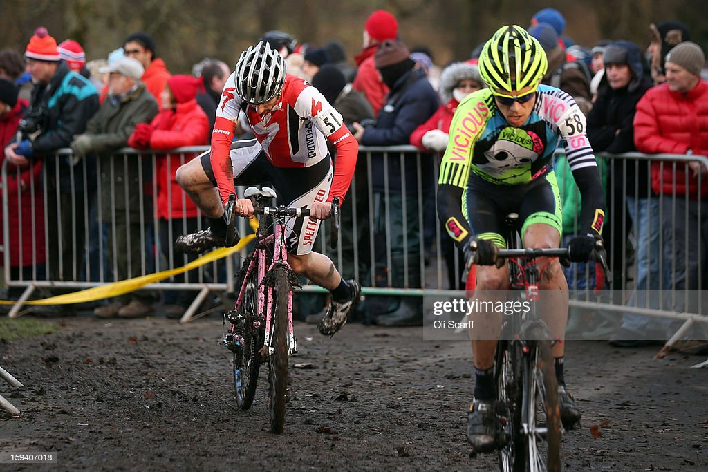 Riders compete in the Senior Men's race at the 2013 National Cyclo-Cross Championships in Peel Park on January 13, 2013 in Bradford, England. The sport of cyclo-cross, featuring ,lightweight bikes with off-road tyres, has dramatically increased in popularity over the past few years. Cyclo-cross courses are often run over a mixture of terrains from tarmac to mud and frequently include obstacles or steep inclines where riders have to carry their bike.