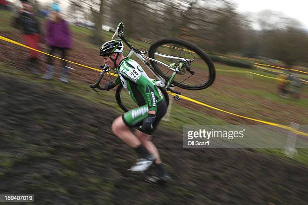 Riders compete in the Senior Men's race at the 2013 National CycloCross Championships in Peel Park on January 13 2013 in Bradford England The sport...