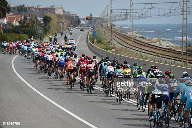 Riders competes in the second stage of the Tour of Catalonia cycling race in Calella on March 22 2016 / AFP / JOSEP LAGO
