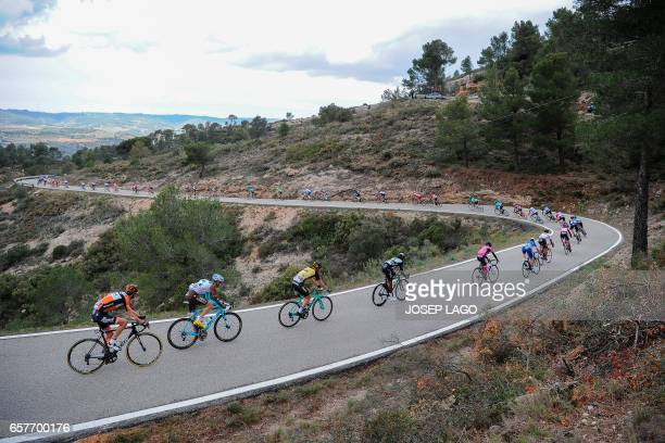 Riders competes on the sixth stage of the 97th Volta Catalunya 2017 a 1897km from Tortosa to Reus in Bot on March 25 2017 / AFP PHOTO / Josep LAGO