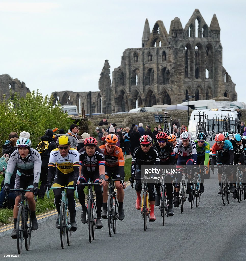 Riders competing in stage three of the Tour de Yorkshire cycle race ride past Whitby Abbey on May 1, 2016 in Whitby, England. Returning for a second year the hugely popular race has grown to be one of the most spectacular events in the British sporting calendar. Up to a million people have lined the route along the three stages of the race which ends today with the 198km Middlesbrough to Scarborough leg.